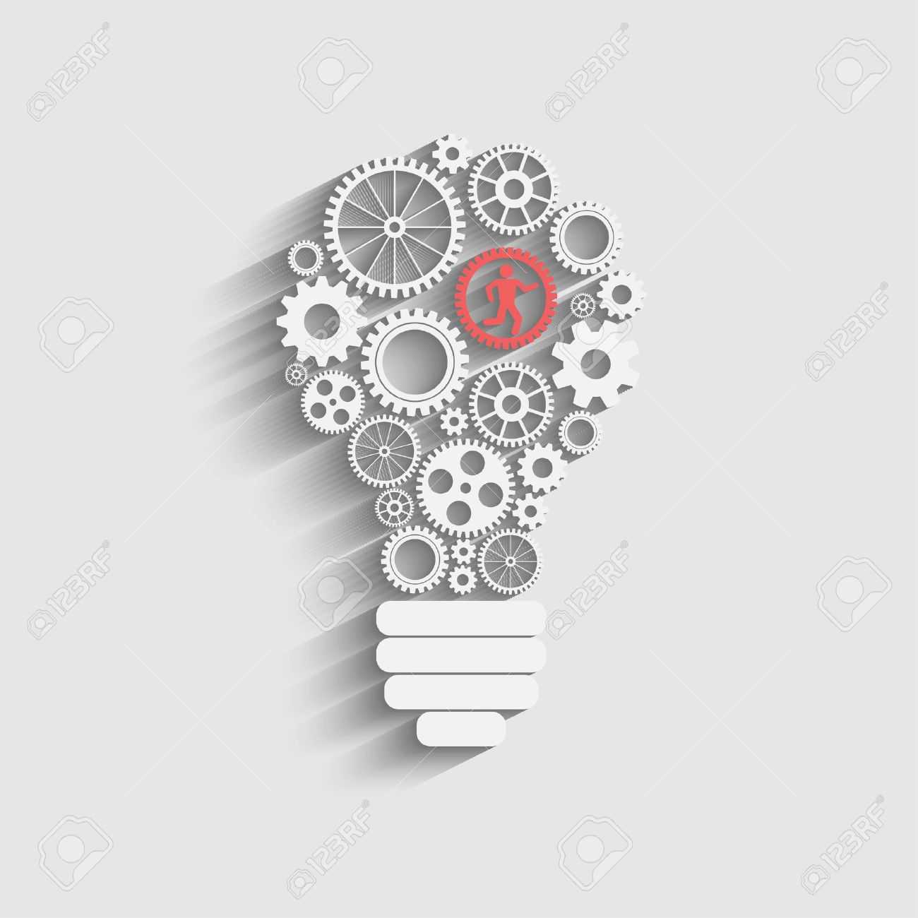 light bulb with gears and cogs working together - 27361773