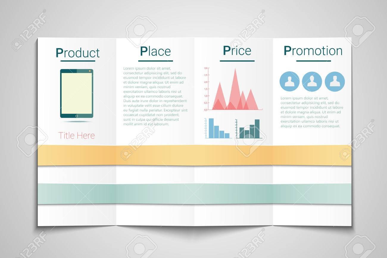 4p marketing brochure template price product promotion and place stock vector 35605220 - Marketing Brochure Template