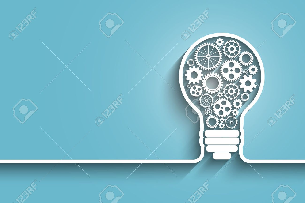 light bulb with gears and cogs working together. vector background for your design - 36489536