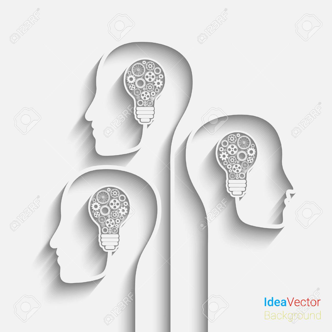 Human Head Creating A New Idea. Vector For Your Design Stock Vector    37858227