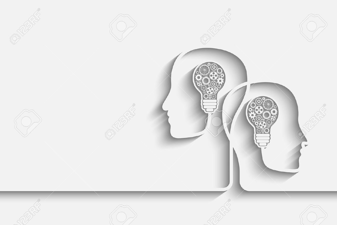 Human Heads Creating A New Idea Background. Eps10 Vector For Your Design  Stock Vector