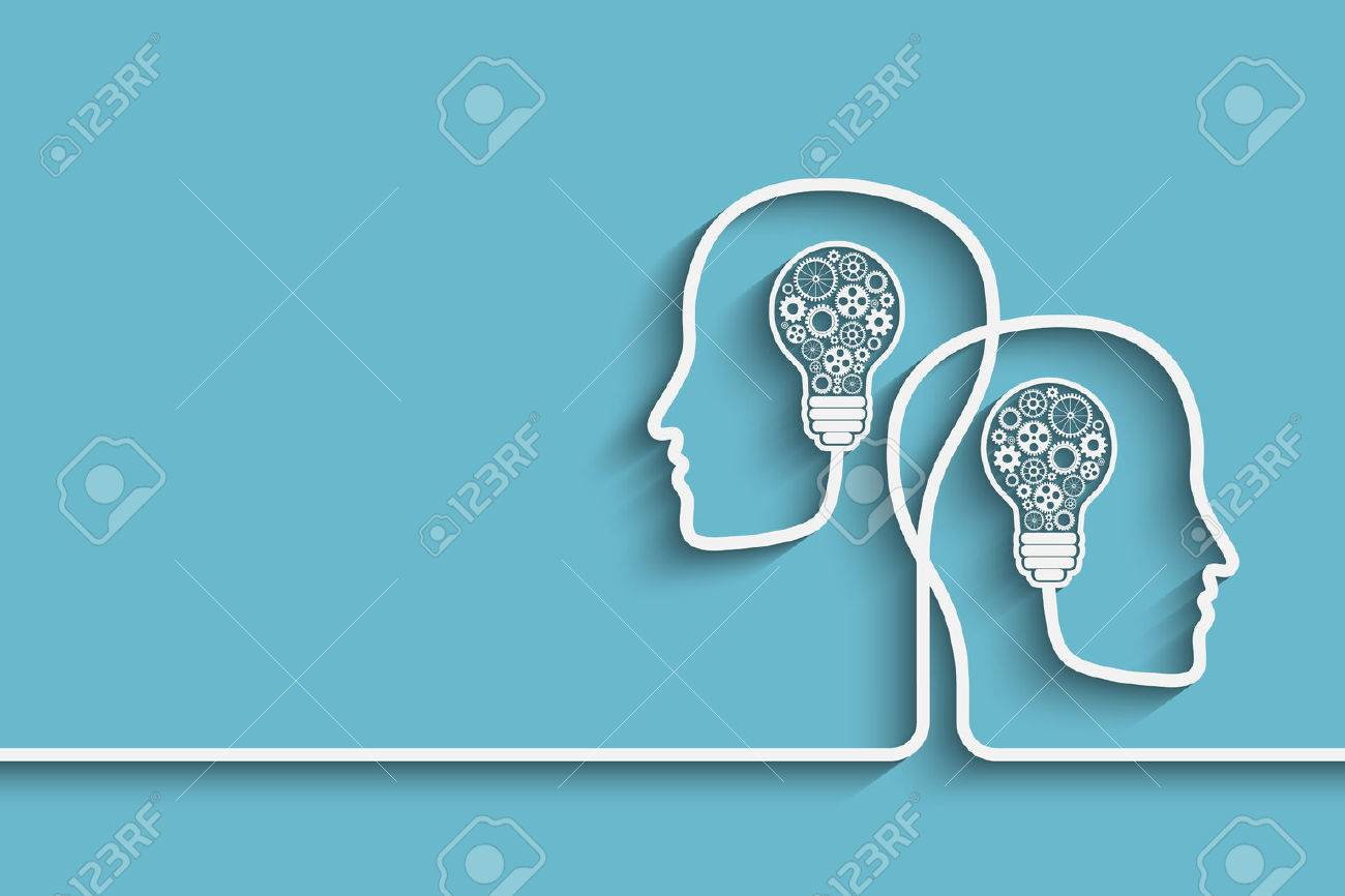 Human heads creating a new idea background. Eps10 vector for your design - 45074270