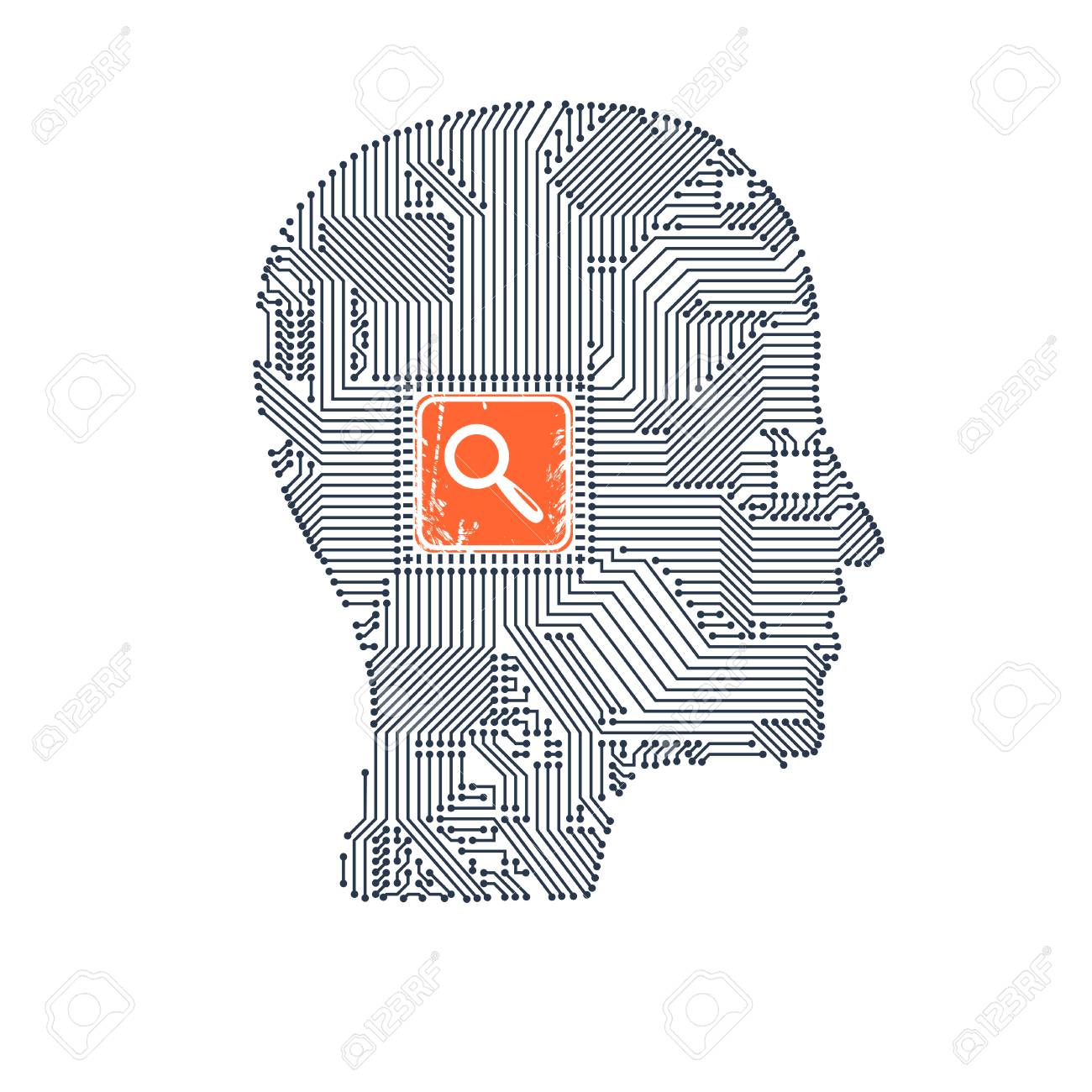 Circuit Board Head With Magnifier Inside As A Symbol Of Searching Diagram Symbols For Your Design Vector Illustration