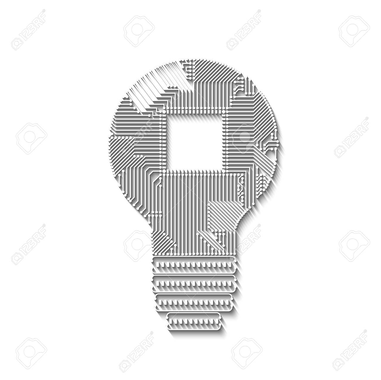 Light Bulb Idea Icon With Circuit Board With Log Shadows Inside ...