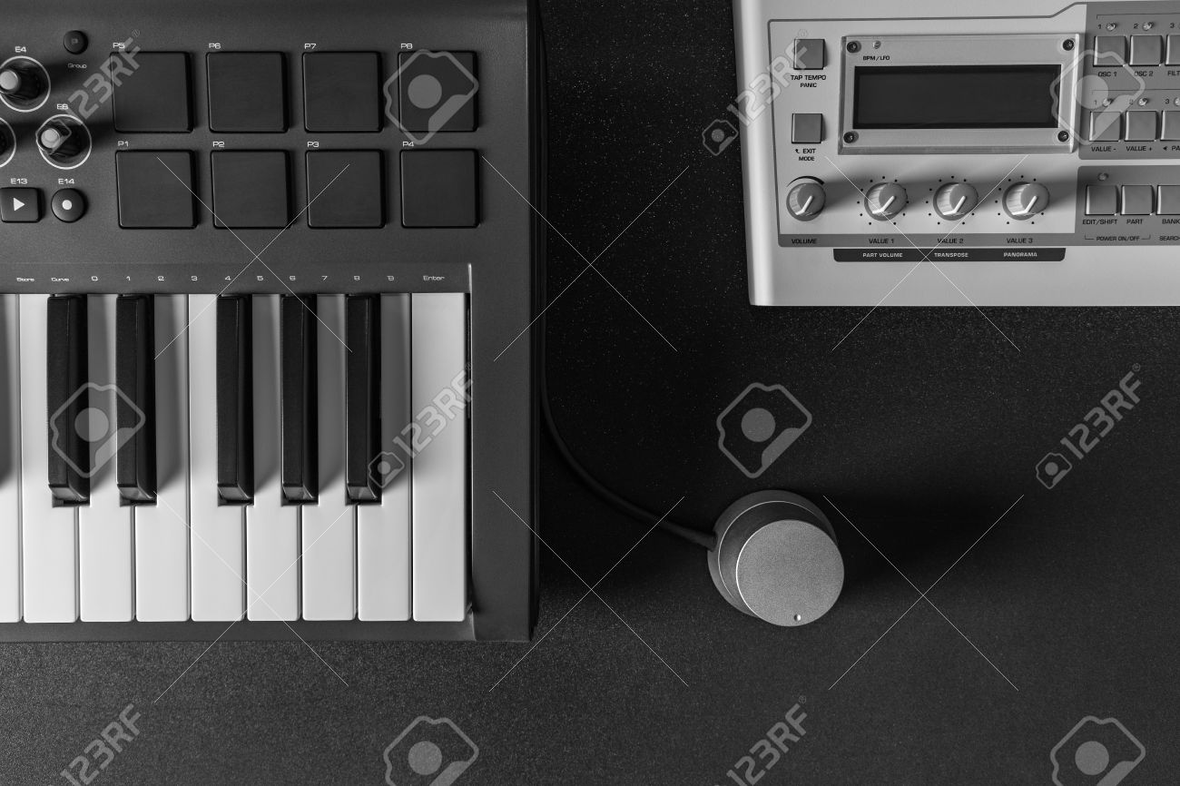 Flat Lay Top View Home Music Studio Dj And Producer Equipment On Dark Background Stock
