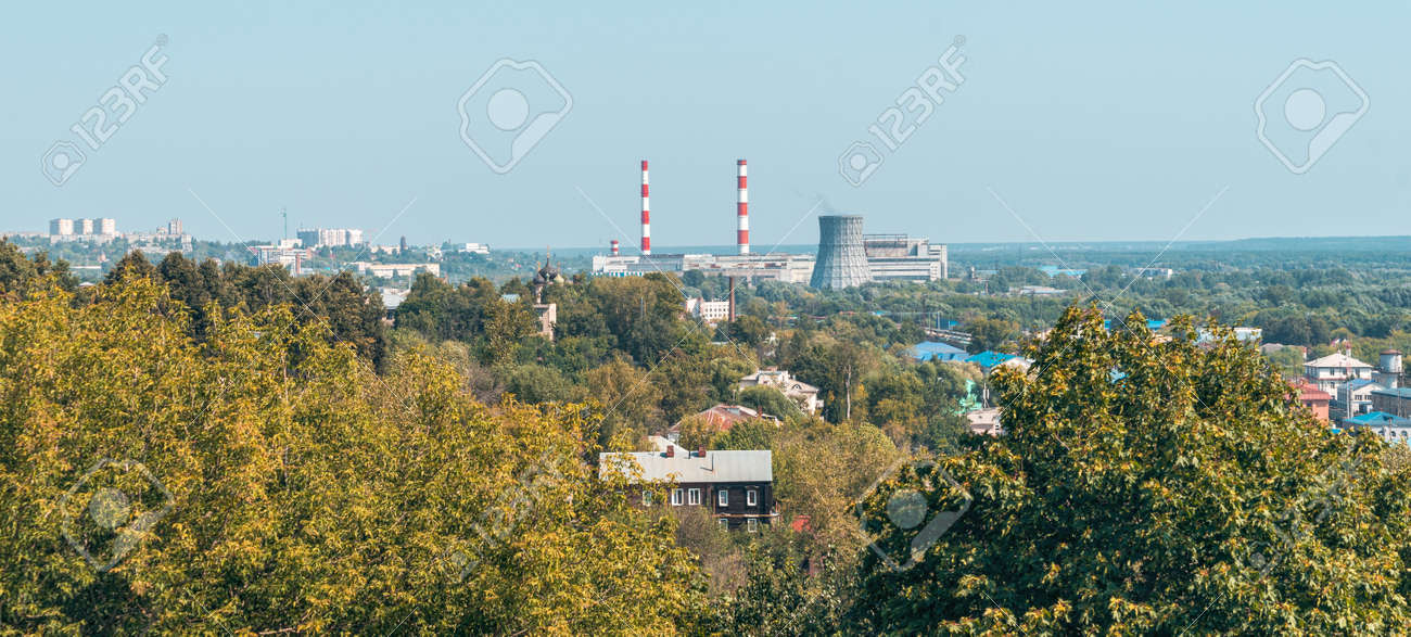 Vladimir Central Heating and Power Plant Station. Panoramic view from the high on Smokestacks on horizon - 173412656