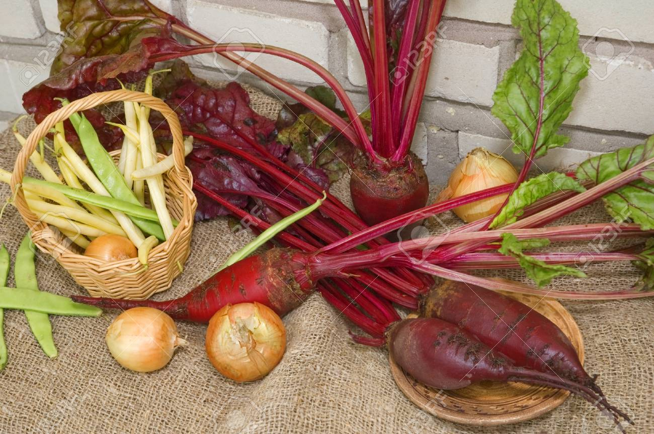red beets and other vegetables are on the fabric Stock Photo - 10377889