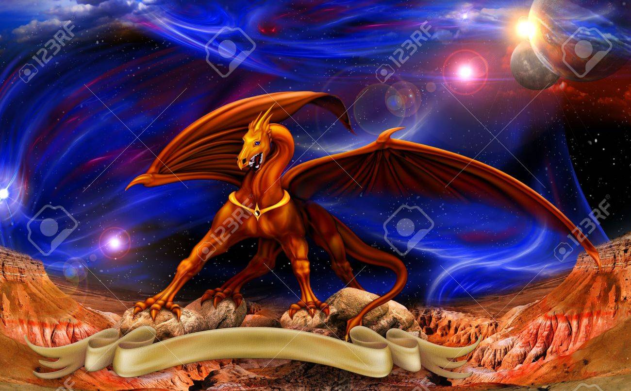 fantasy red gold dragon against a background of cosmic landscapes over the parchments Stock Photo - 12190993