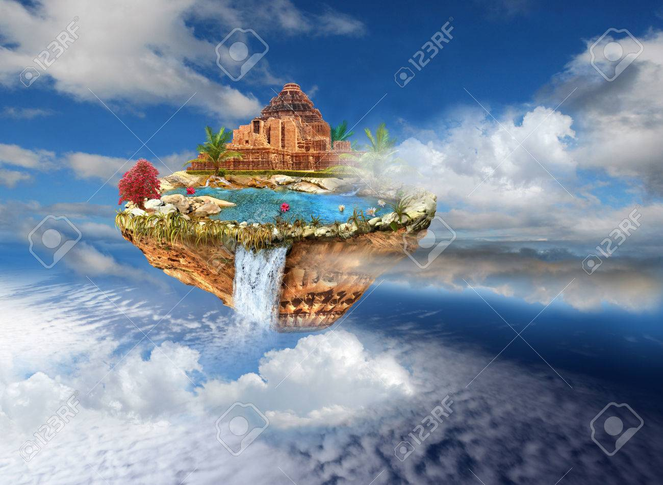 Ile Volante ancien temple du soleil et le lac sur l'île volante flottant dans