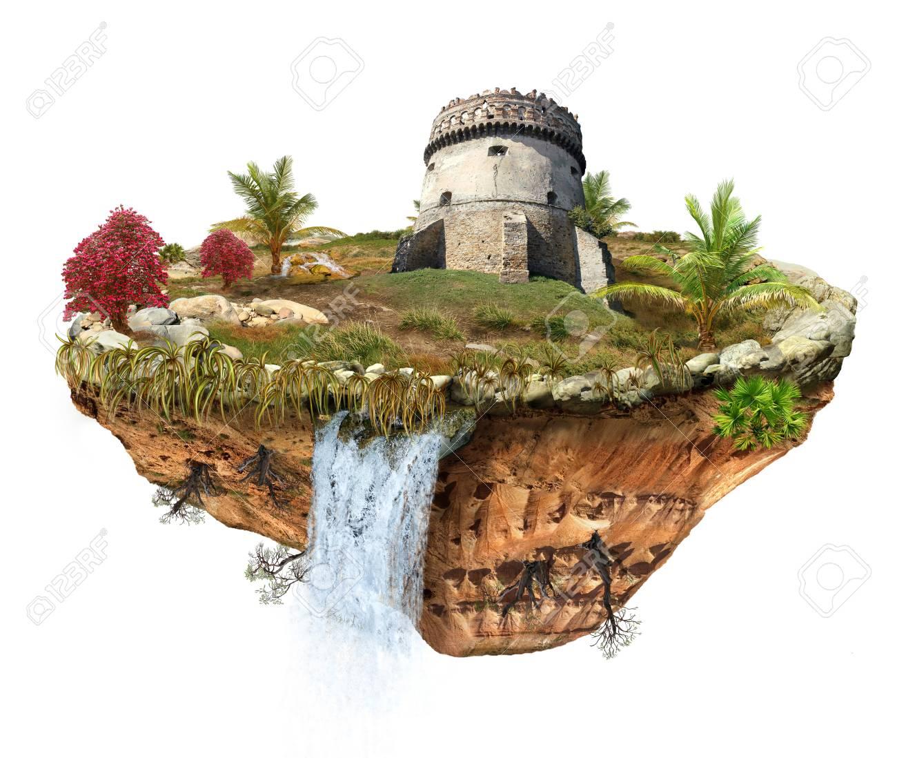 Ile Volante tour médiévale du château de pierre sur l'île volante banque d