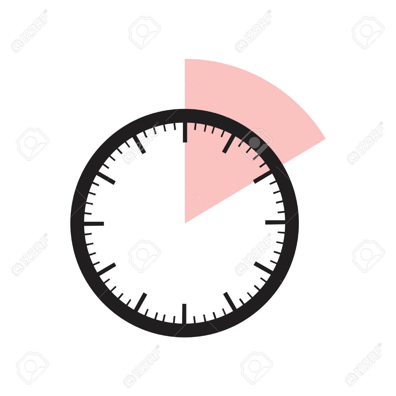 10 minutes timer office clock with pink 10 min segment stock vector 71529778