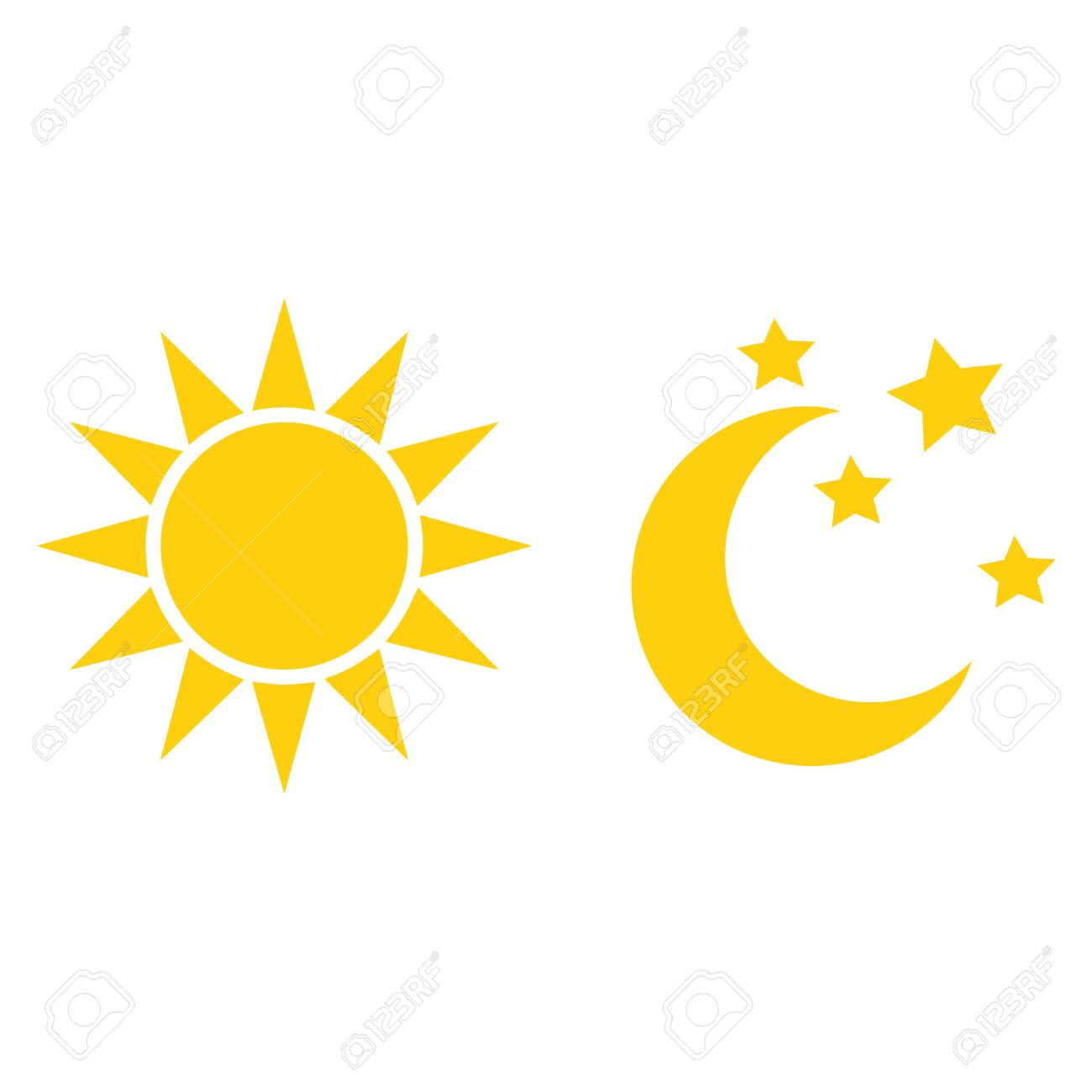 vector sun and moon flat icon royalty free cliparts vectors and rh 123rf com Anime Sun and Moon Sun and Moon Outline