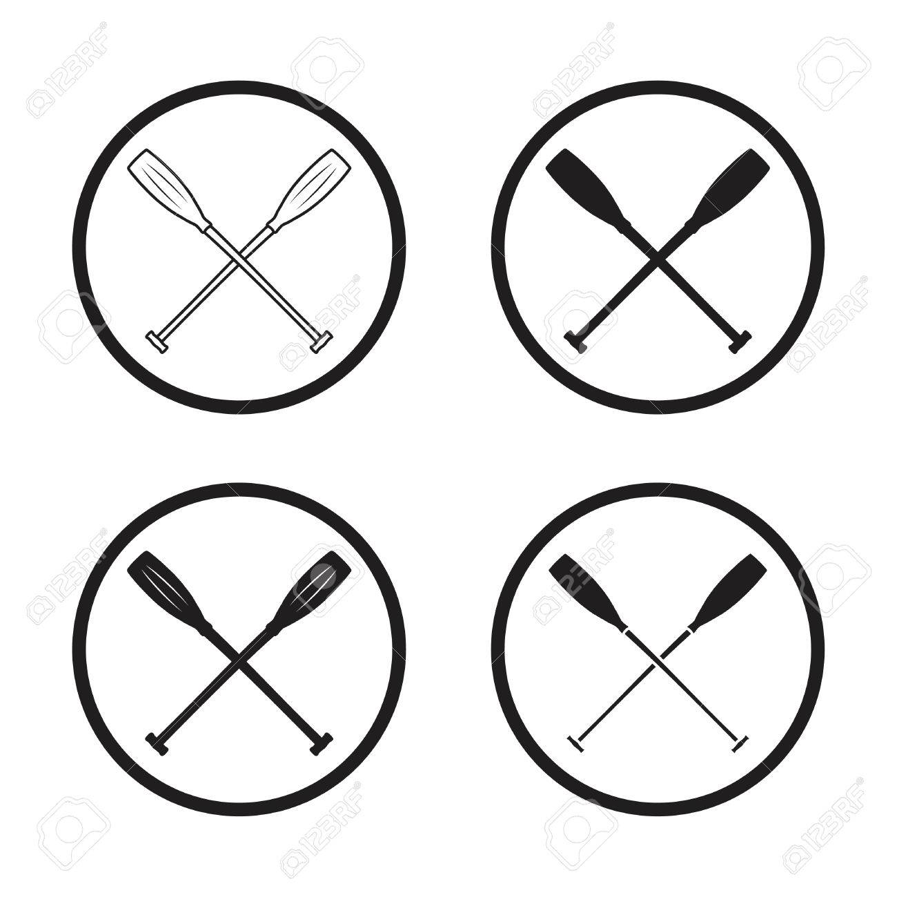 Crossed Canoe Paddles Symbol Vector Stock