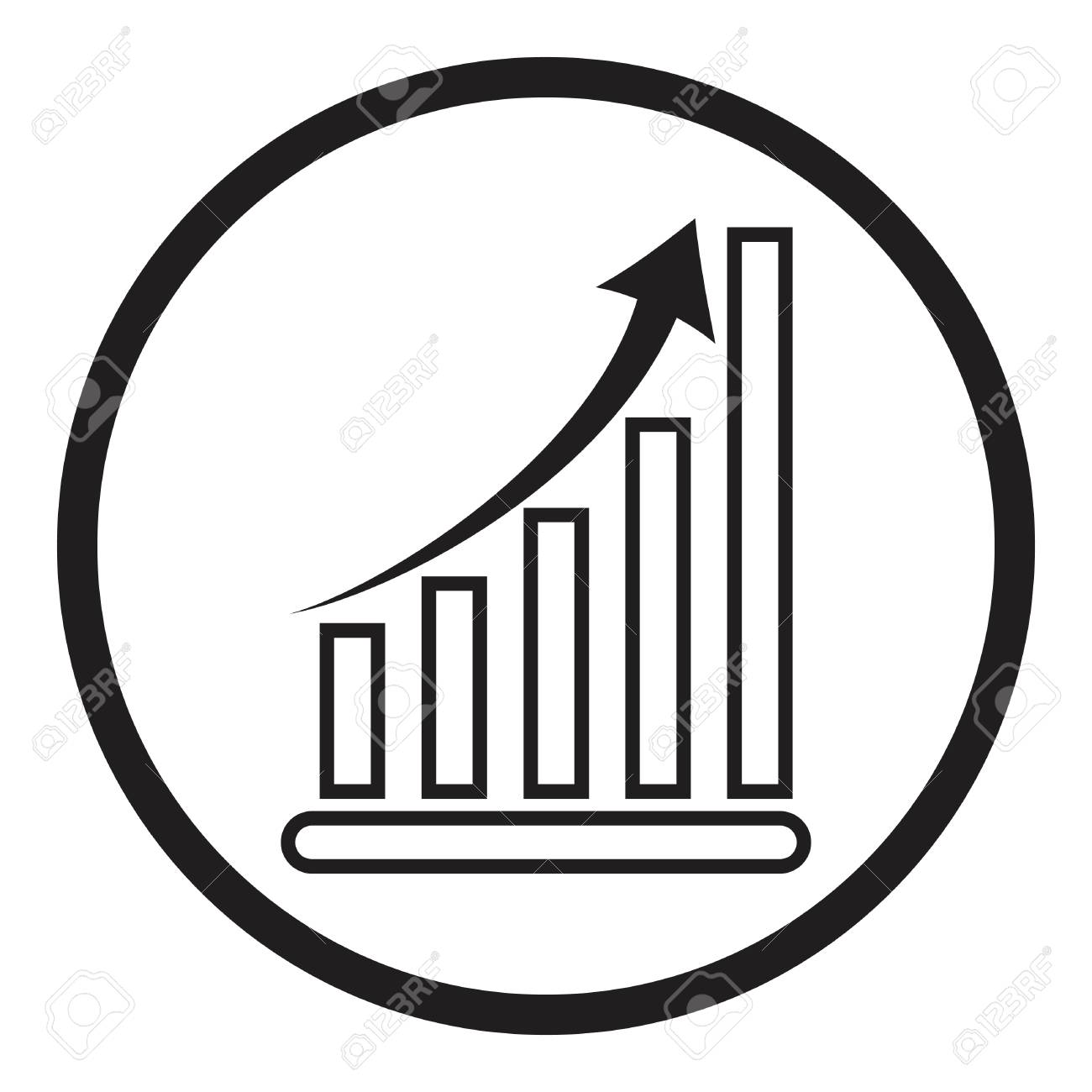 Business Graph Vector Growth Progress Arrow Growing Graph Icon