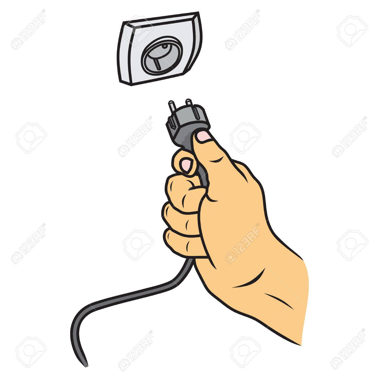 Hand Connecting Electrical Plug Vector Royalty Free Cliparts ...