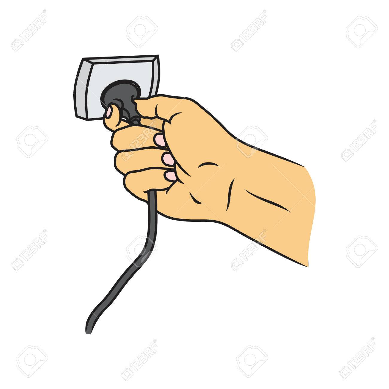 Hand Connecting Electrical Plug Vector And Turn Off The Cable ...