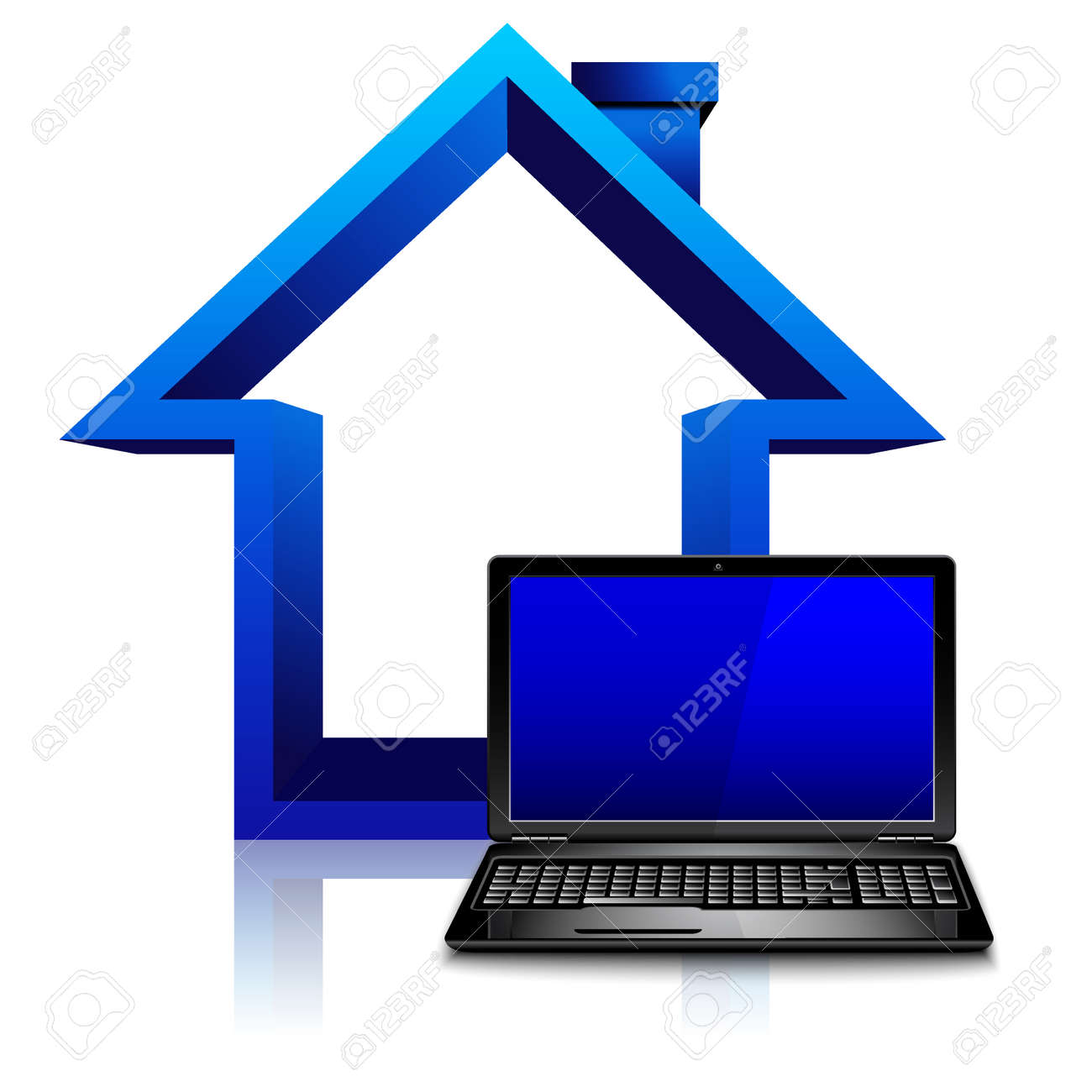 Work at home concept, freelancer, house with laptop computer - 165625539