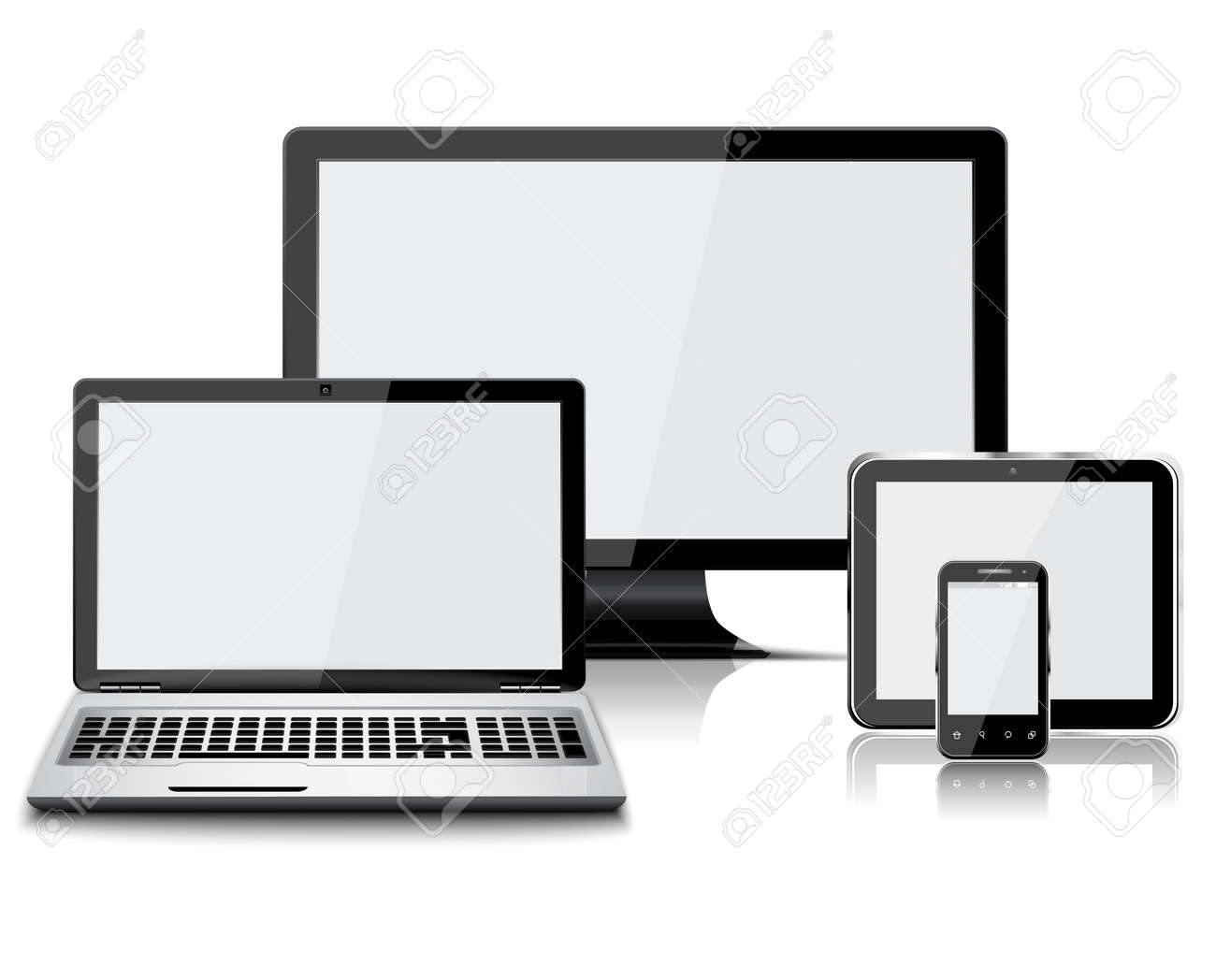 Set of realistic display, laptop, tablet computer and mobile phone isolated - 166308892