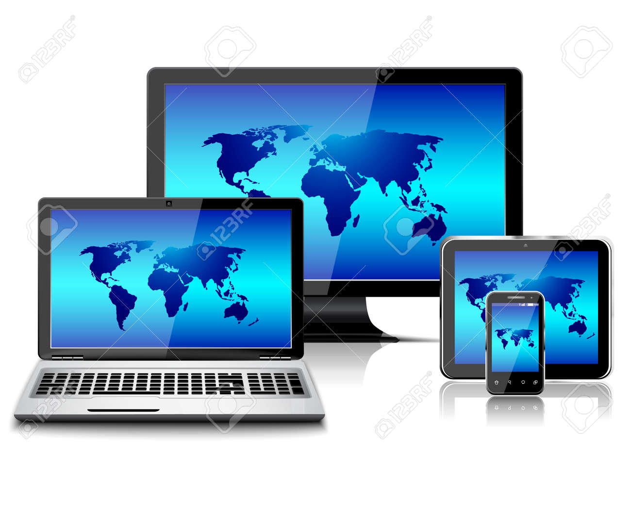 Computer monitor, laptop, tablet pc, and mobile smartphone with world map isolated - 166513080