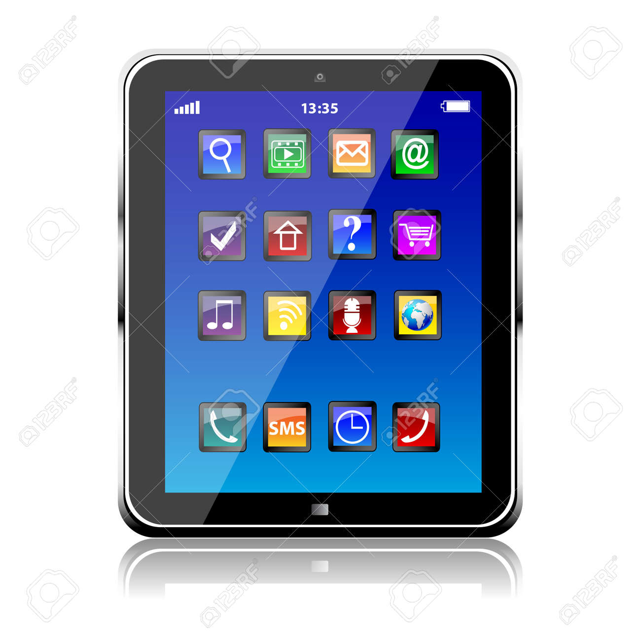 Tablet PC with blue touchscreen and colorful apps isolated - 166513167
