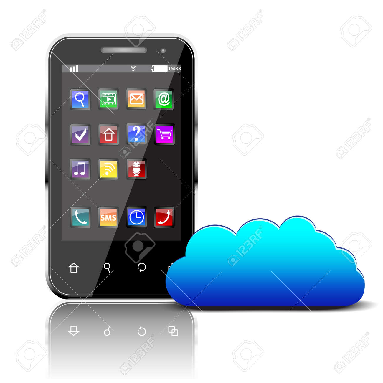 Smartphone with colorful apps and cloud computing symbol isolated - 166515028