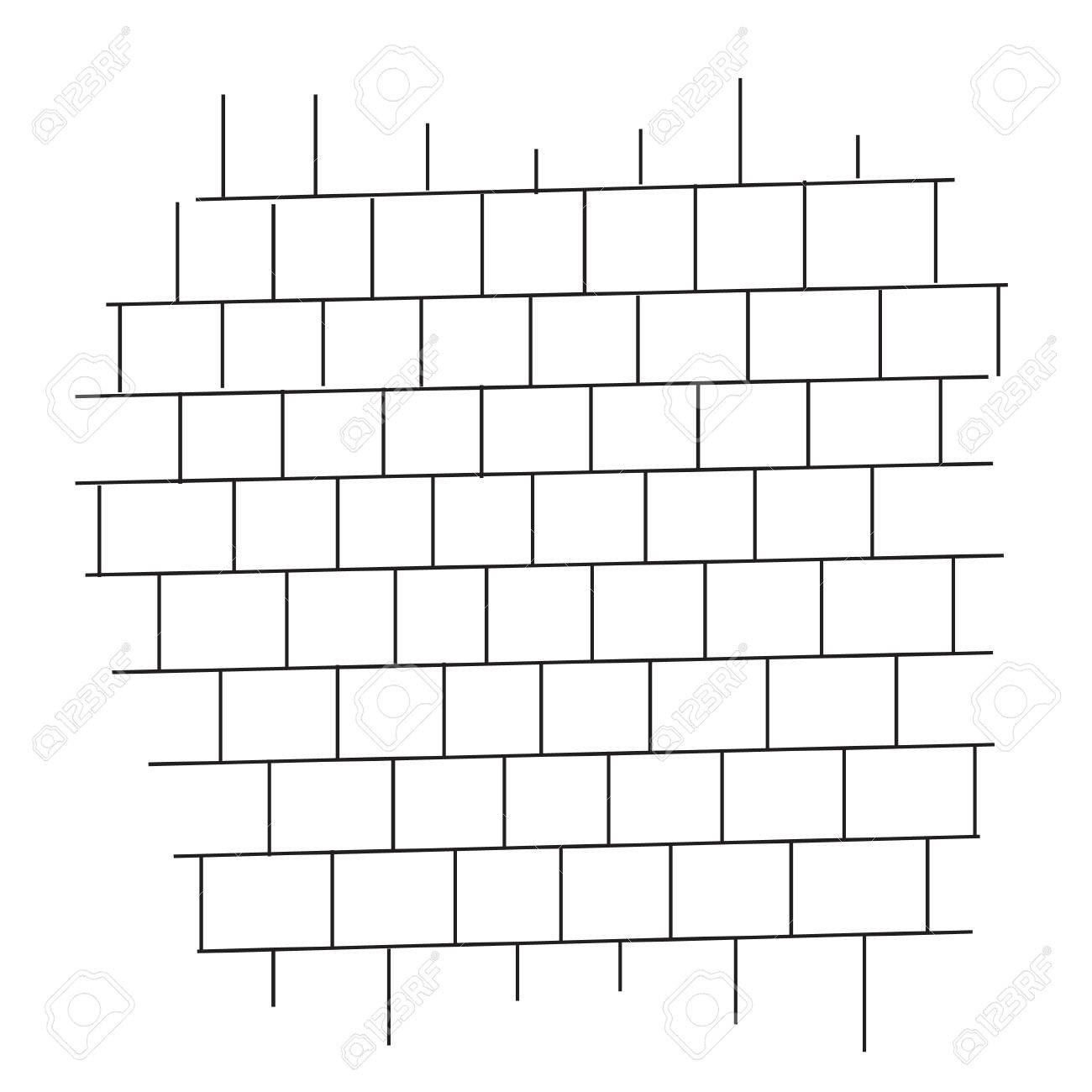 Brick Wall Black And White Vector Stock