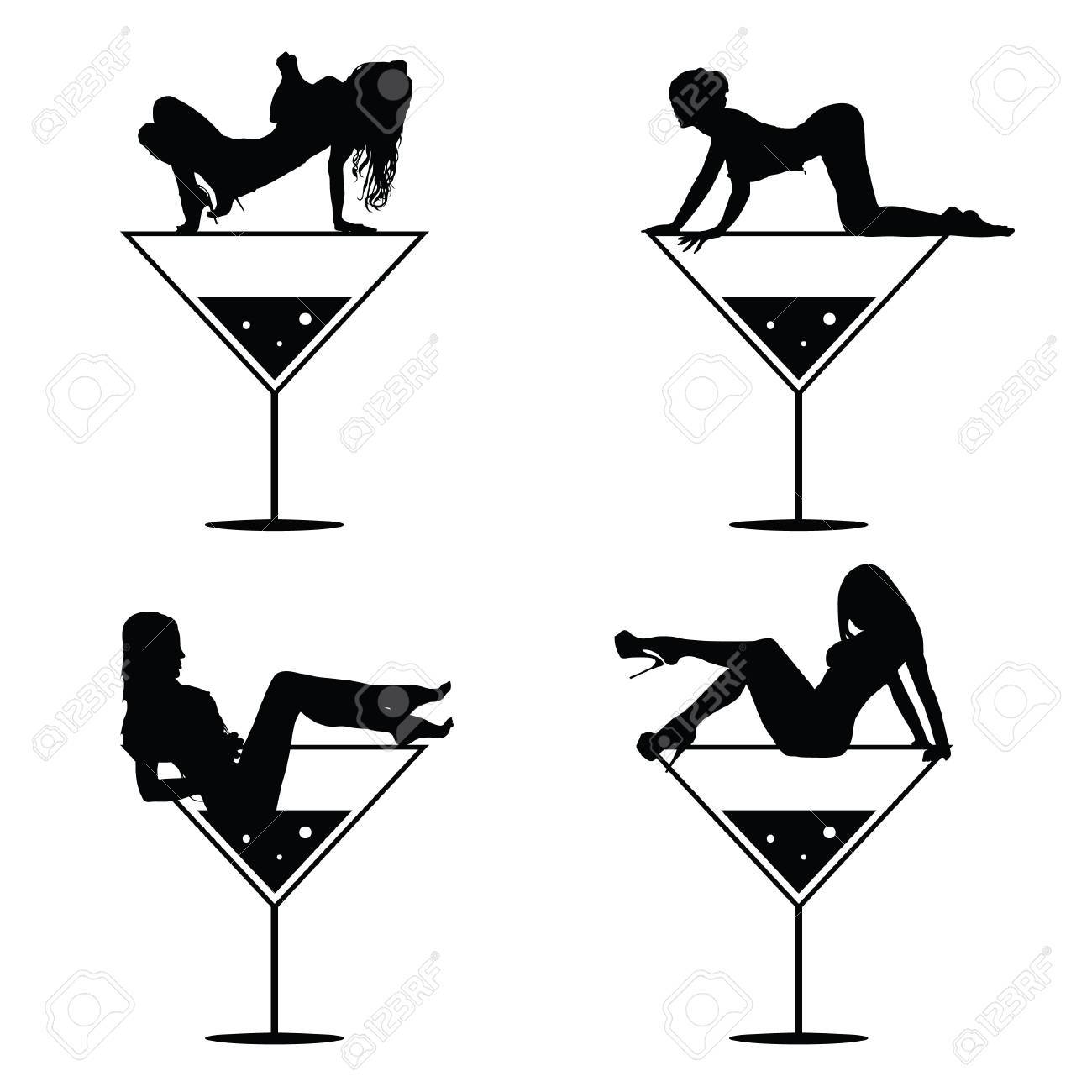 girl and martini black vector silhouette on white royalty free rh 123rf com Lady in Martini Glass Clip Art Martini Glass Clip Art Picture for Invitations Party