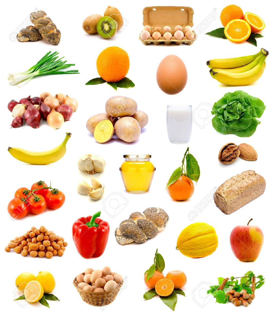 Group of healthy food with fruits vegetables milk bread and group of healthy food with fruits vegetables milk bread and eggs isolated on thecheapjerseys Images