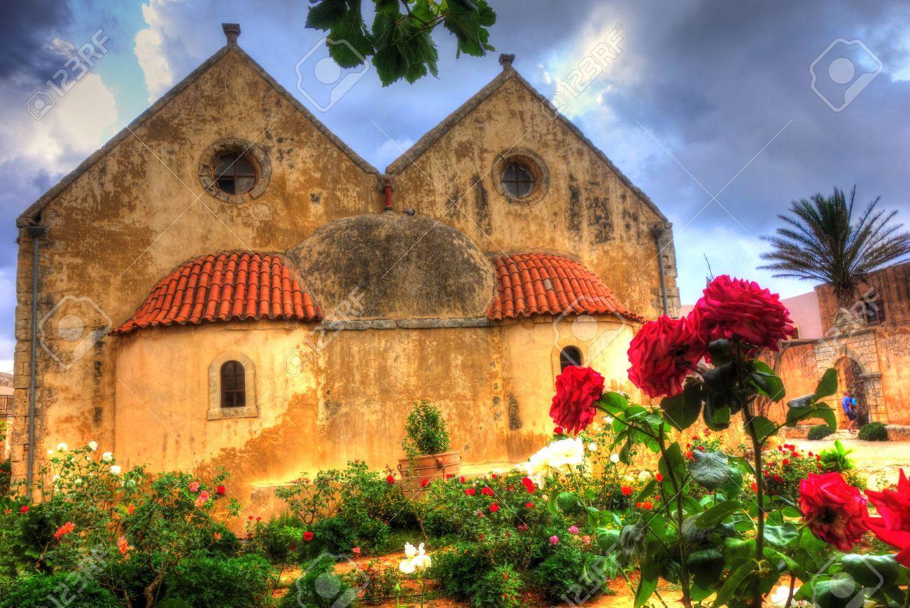 Hdr Monastery Backyard Rose Garden Stormy Sky Red Roses Stock