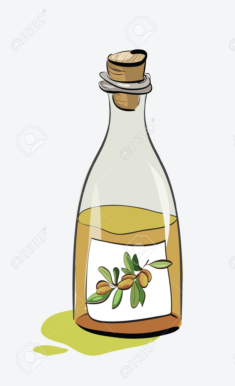 Olive Oil Bottle Sketch. Clip-art, Illustration. Royalty Free ...