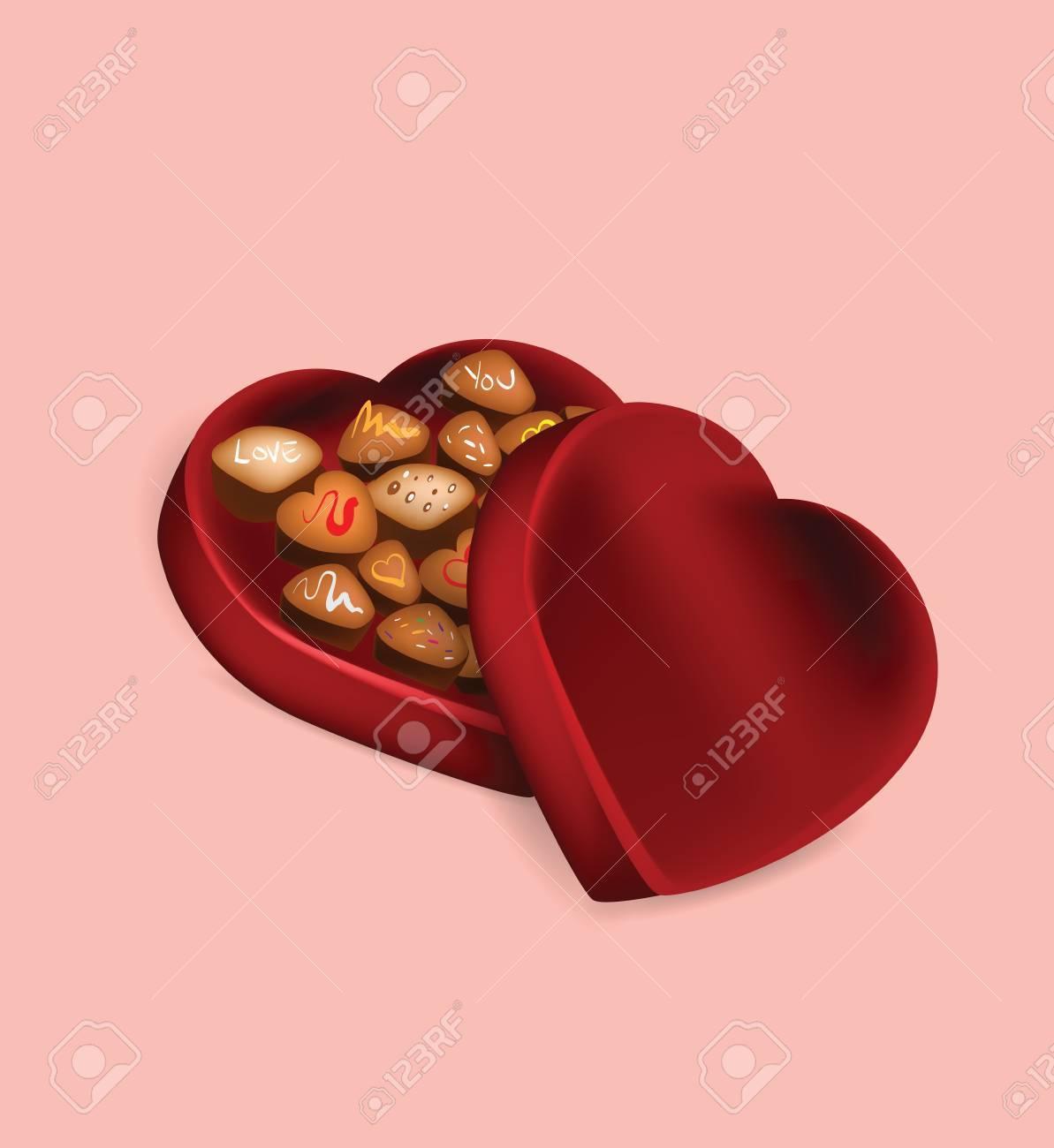 Illustration Of Valentine S Day Chocolate Box On Pink Background