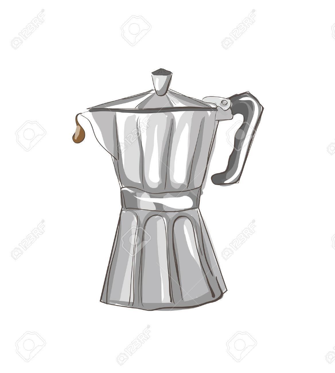 Dibujo de cafetera italiana. Imágenes prediseñadas, Ilustración.