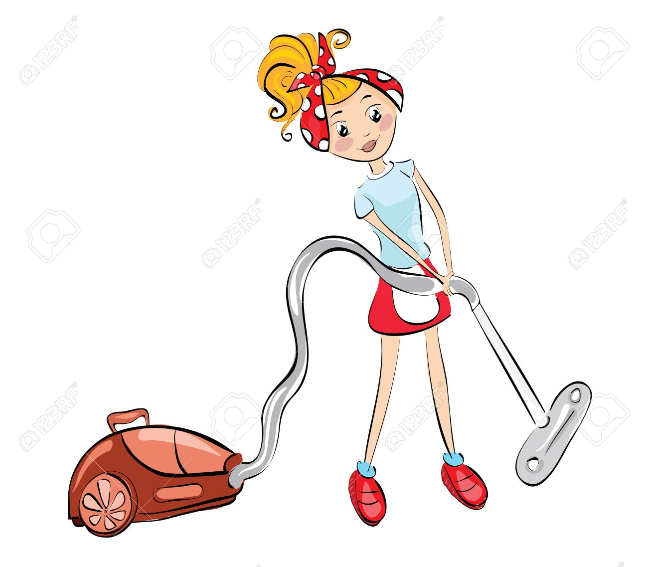 Woman With Vacuum Cleaner Clip Art Illustration Royalty Free Cliparts Vectors And Stock Illustration Image 27943534
