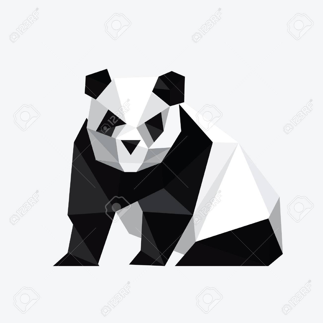 Illustration Of Abstract Origami Panda Bear Stock Vector