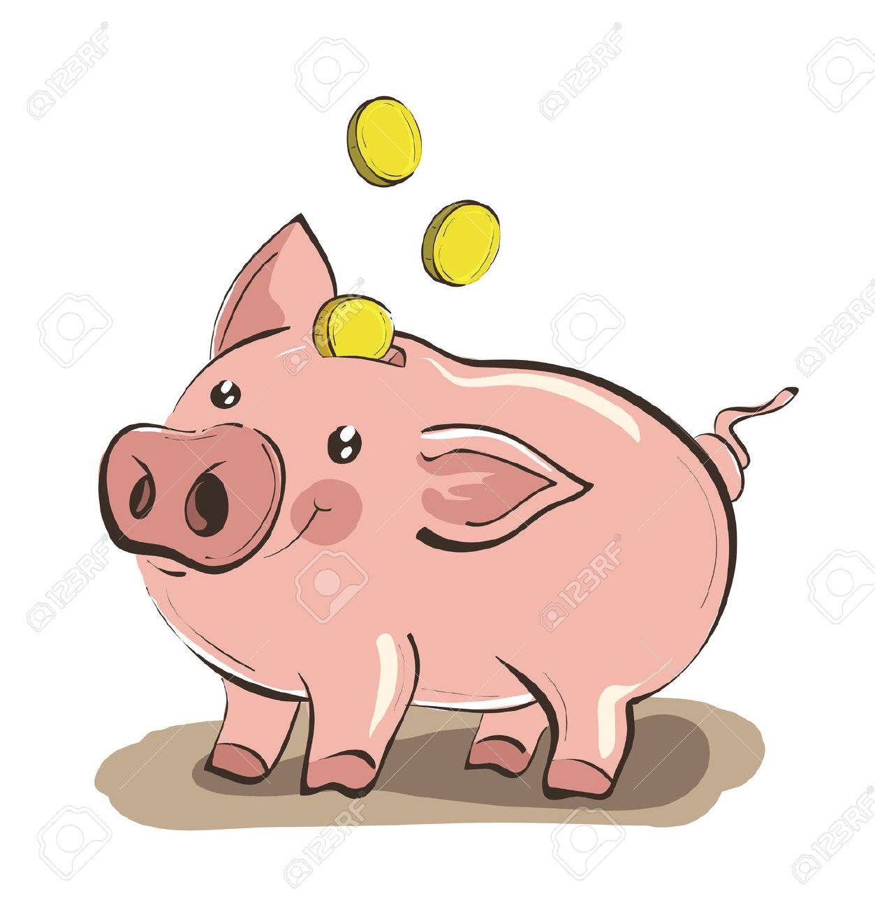 illustration of hand drawn piggy bank with three golden coins rh 123rf com piggy bank clipart images piggy bank outline clip art