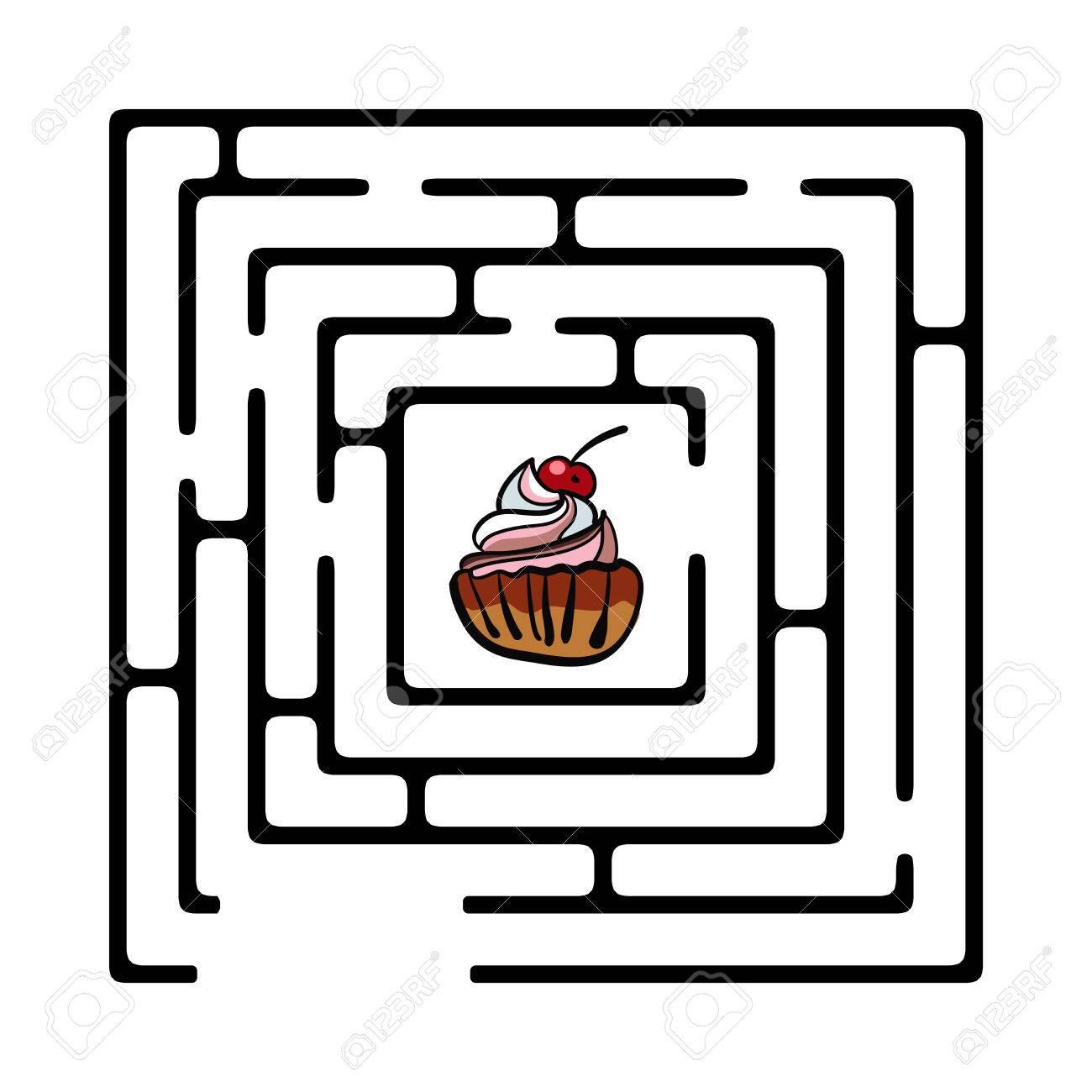 カップケーキの簡単な迷路のイラストのイラスト素材 ベクタ Image