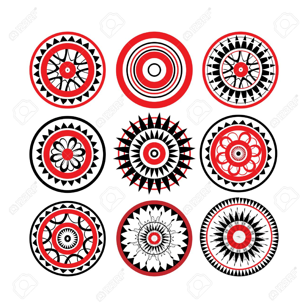 Collection Of Red And Black Polynesian Tattoo Design Isolated