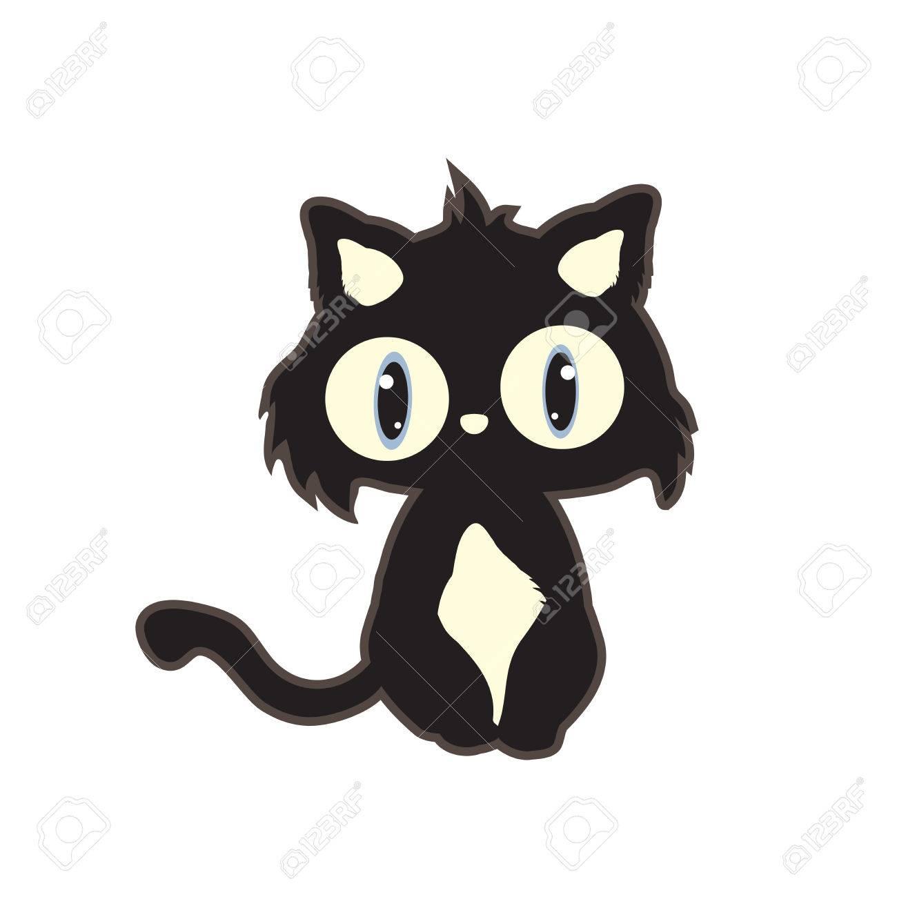 Ilustración De Dibujos Animados Lindo Gato Negro Aislado En El Fondo