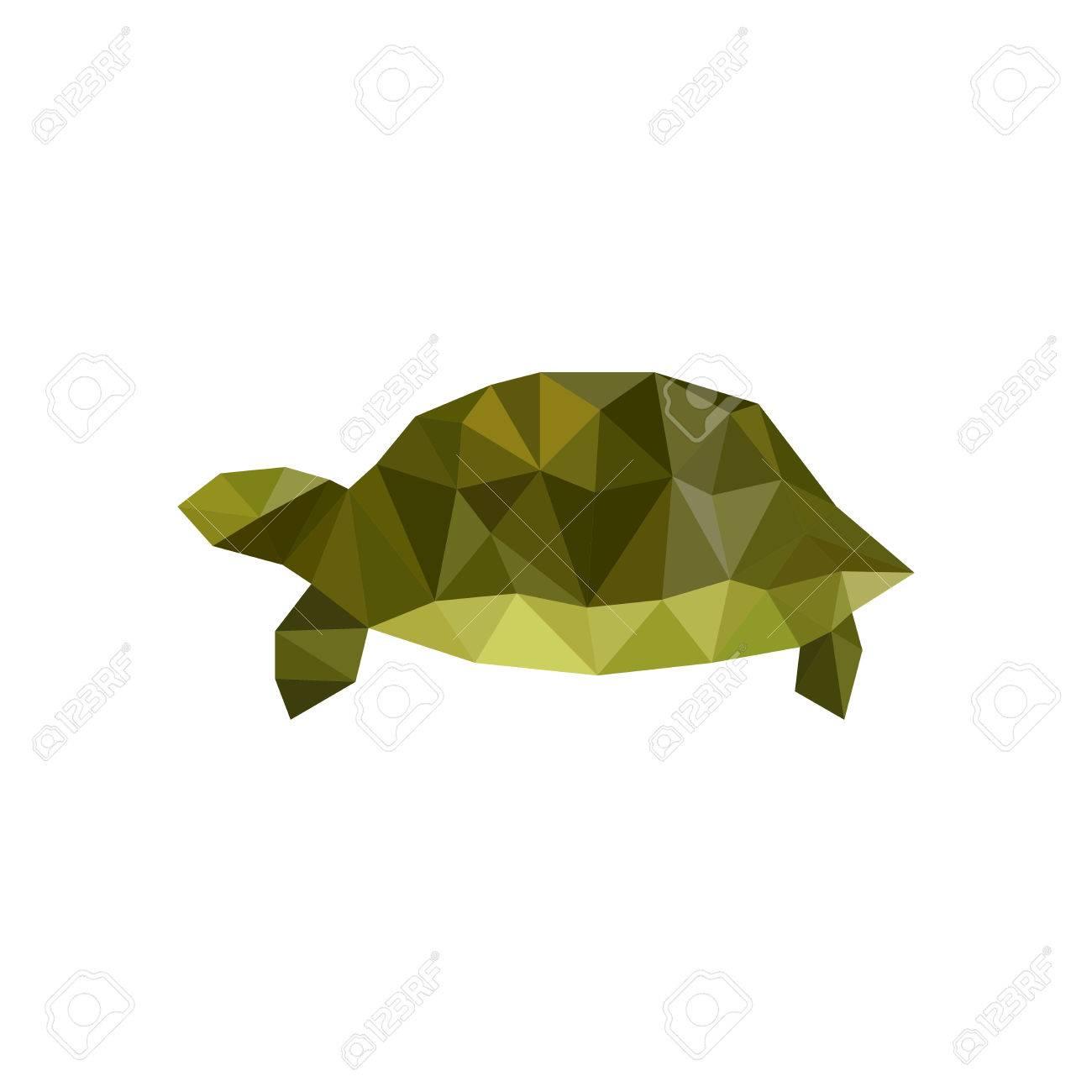 Illustration De La Tortue De L Origami Vert Isole Sur Fond Blanc