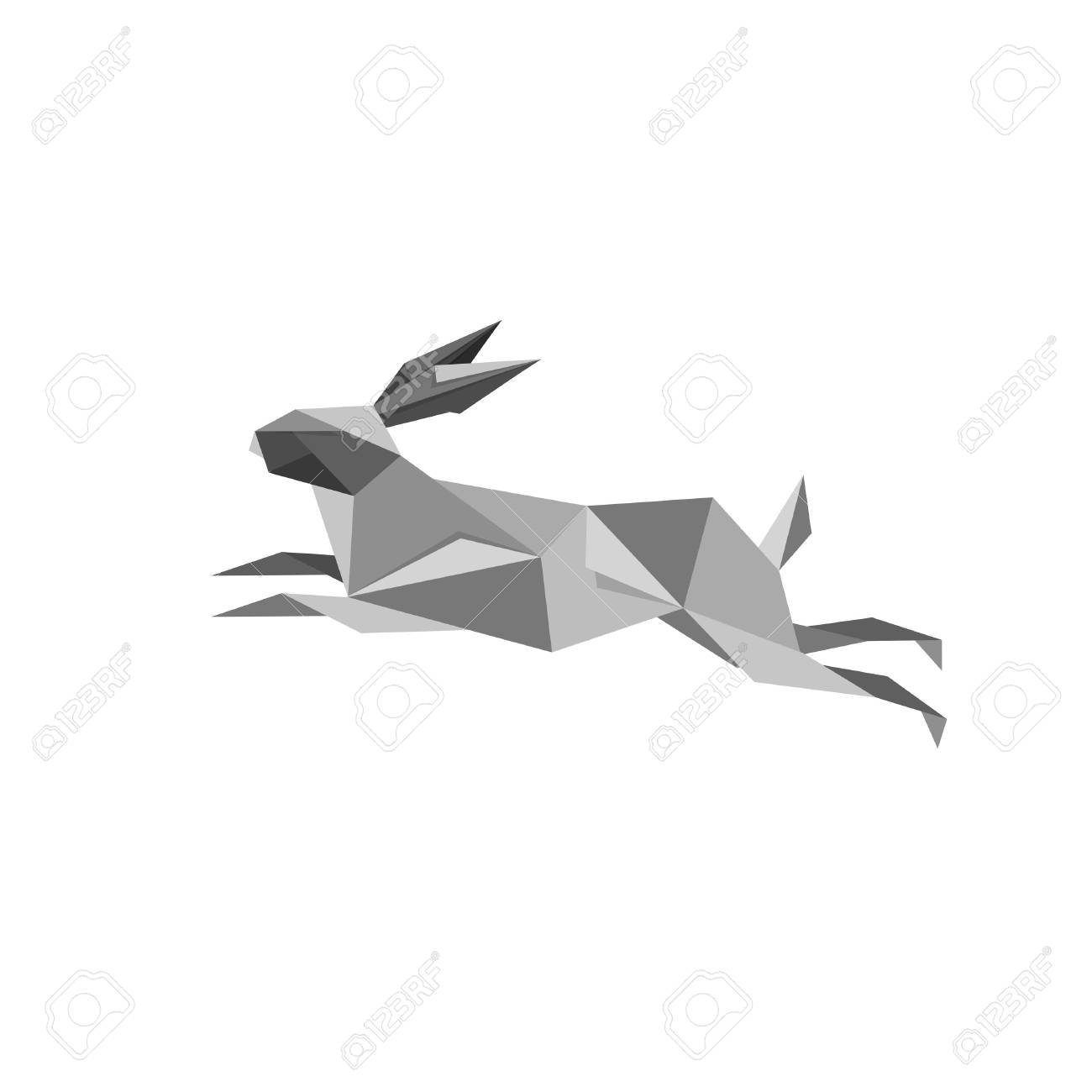Illustration With Origami Jumping Rabbit Isolated On White Background Stock Vector
