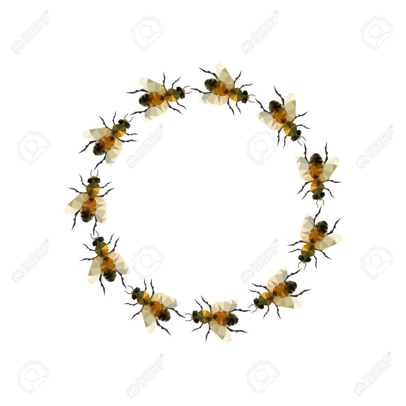 Moderne Origami Illustration Mit Einer Gruppe Von Bienen In Einem