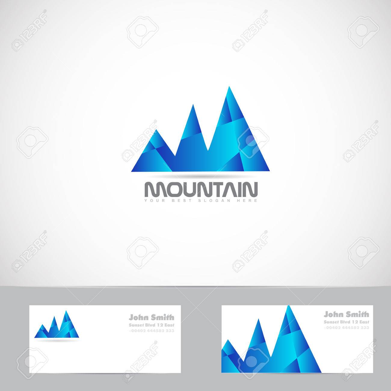 Vector Logo Template Of Blue Mountain Shape 3d With Business ...