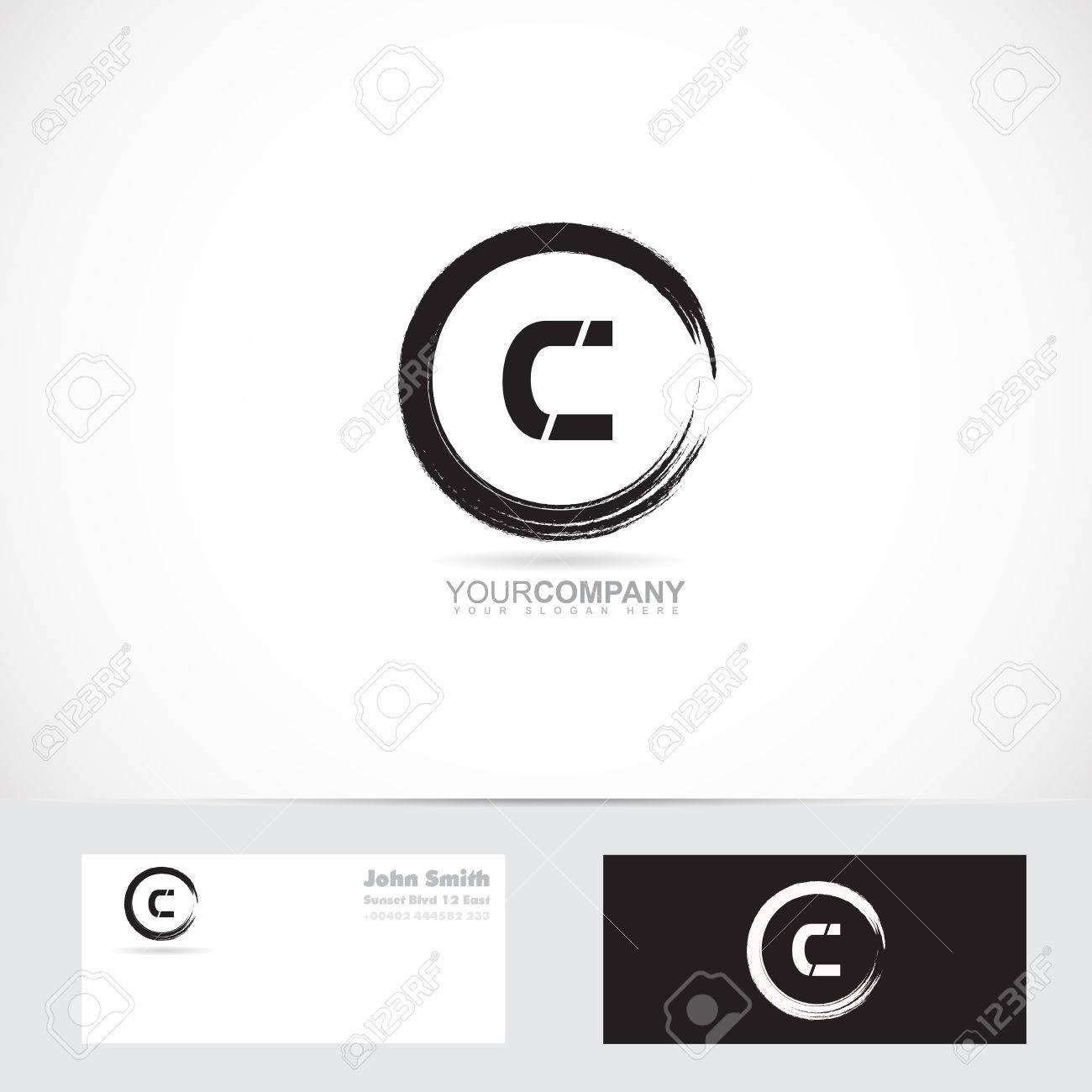 Vector logo template of alphabet letter c grunge circle with vector vector logo template of alphabet letter c grunge circle with business card reheart Choice Image