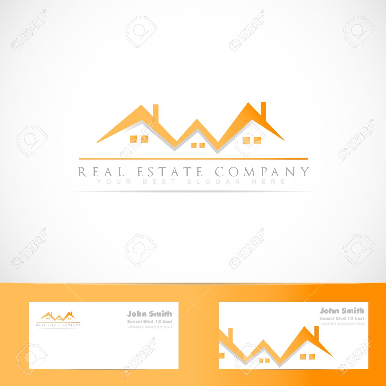 Vector logo template of real estate orange house roof symbol with imagens vector logo template of real estate orange house roof symbol with business card reheart Gallery
