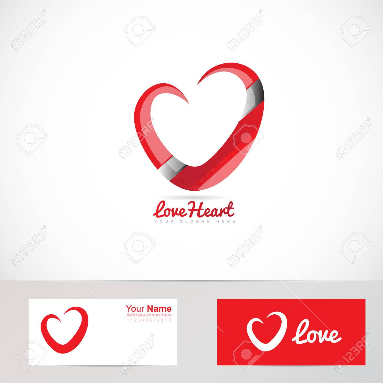 vector company logo element template of read love heart shape