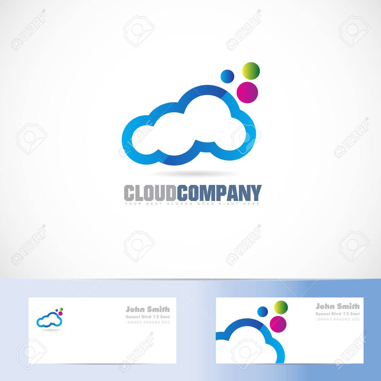 Vektor-Logo-Vorlage Von Cloud-Farben-Design Für Service, Lagerung ...