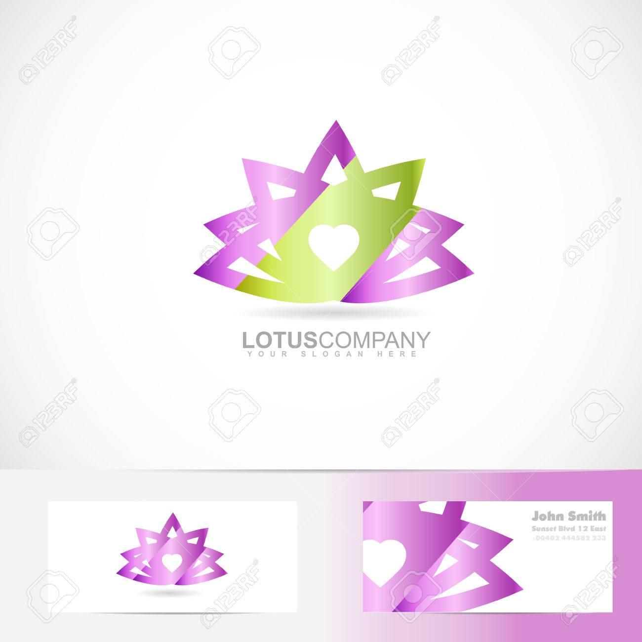 Modele De Vecteur Fleur Lotus 3D Avec Carte Visite Clip Art