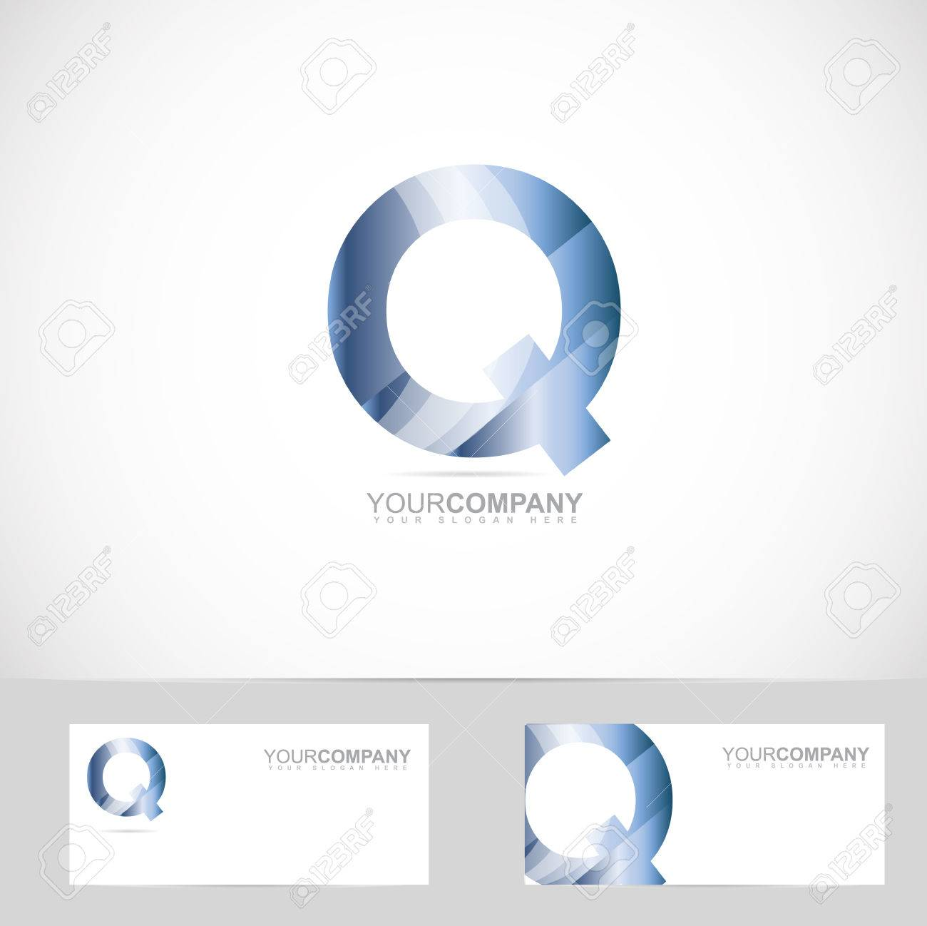 vector logo template of alphabet letter q 3d with business card