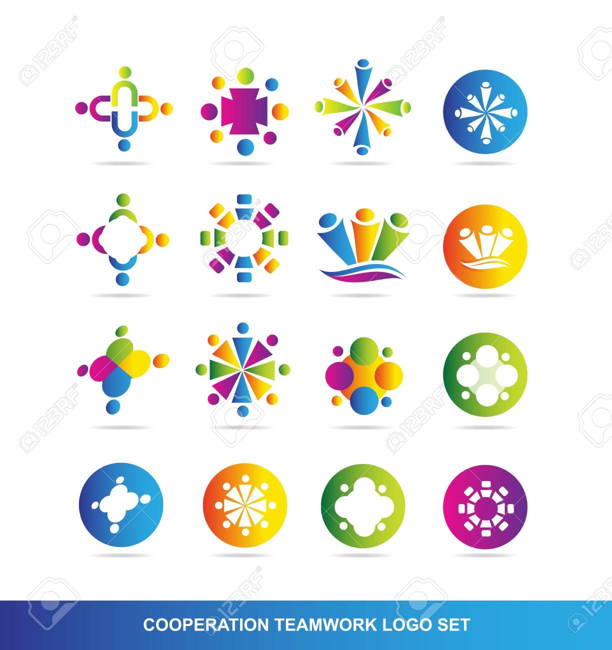 Firmenlogo Symbol Element Vorlage Menschen Zusammenarbeit Teamwork ...
