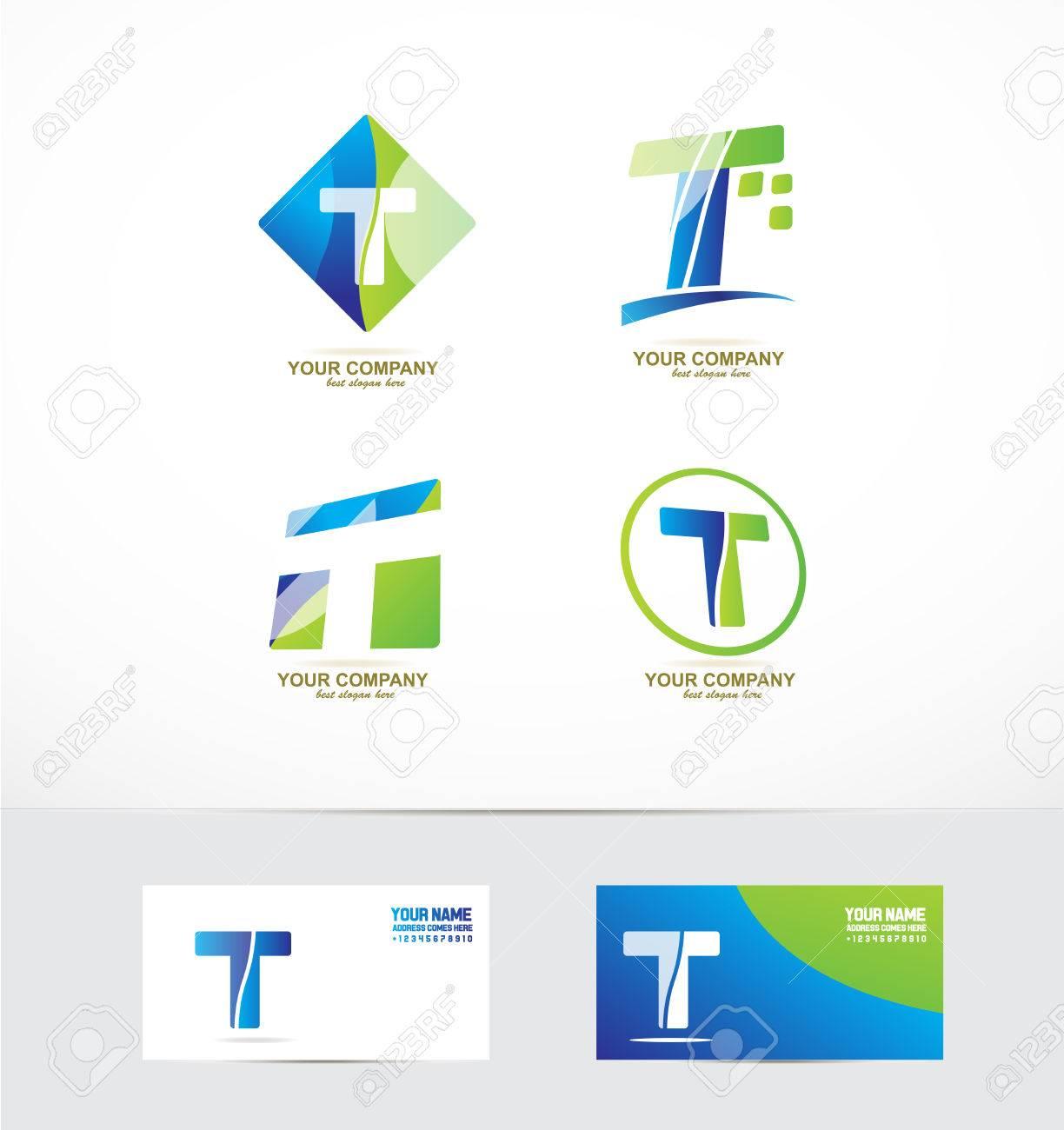 company logo icon element template alphabet letter t set - 53334060
